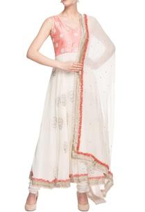 white-peach-embroidered-kurta-set