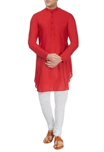 red-pleated-asymmetric-kurta