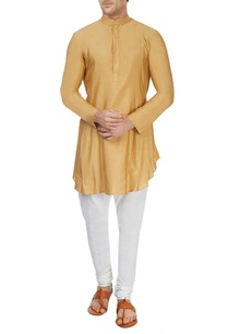 beige-pleated-asymmetric-kurta