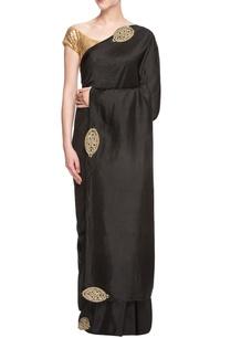 black-sari-with-appliques