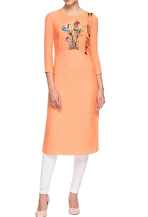 orange-3d-net-embroidered-kurta