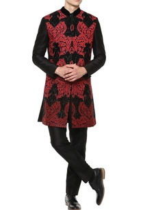 red-sherwani-with-black-trousers