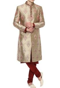 beige-maroon-sherwani-set
