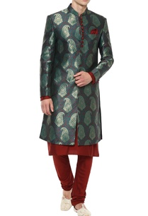 green-maroon-brocade-kurta-set
