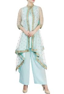 pastel-blue-kurta-set-with-embellished-cape