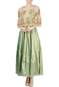 sea-green-polka-dress-with-cape