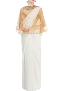 beige-shaded-blouse-with-embellished-cape