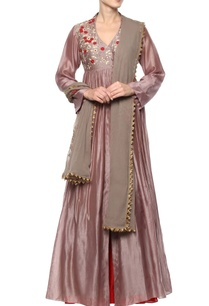 mauve-embroidered-kurta-set