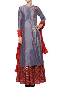 blueish-grey-red-embroidered-kurta-set