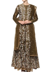 olive-green-embroidered-kurta-set