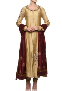 beige-chanderi-kurta-set
