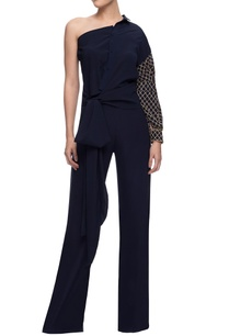 navy-blue-one-shoulder-shirt-trousers