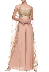 gold-and-pinkish-beige-pant-set-with-cape