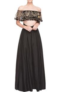 black-embroidered-skirt-set