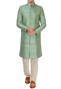 green-rawsilk-sherwani