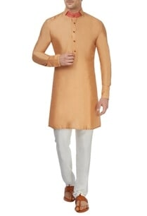 light-orange-spun-silk-kurta