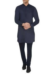 dark-blue-spun-silk-kurta