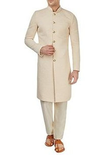 cream-embossed-sherwani