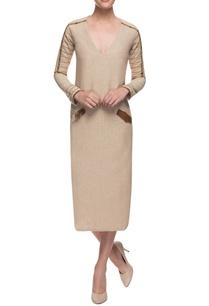 beige-v-neck-midi-dress