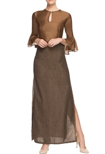 brown-silk-top-and-lurex-skirt