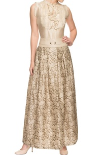 ivory-silk-top-and-printed-skirt