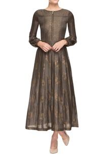 dark-grey-multi-printed-pleated-dress