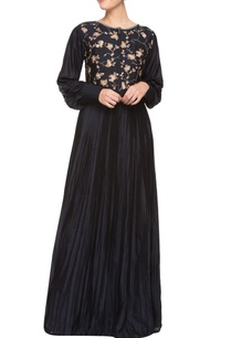 navy-blue-silk-pleated-maxi