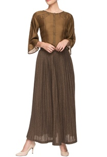 brown-silk-top-and-lurex-skirt
