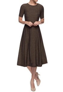 brown-flared-dress