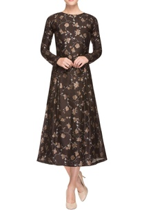 brown-printed-dress