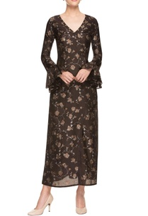 brown-printed-overlapping-dress