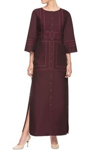wine-shirt-dress-with-side-slits