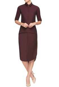 wine-asymmetrical-dress-with-collar