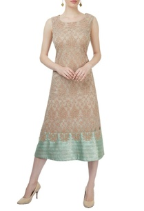 beige-light-green-sleeveless-embroidered-dress