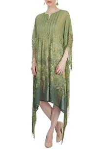 green-printed-poncho-with-fringes