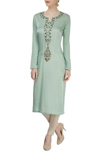 light-green-and-beige-embroidered-kurta