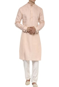 peach-linen-long-kurta