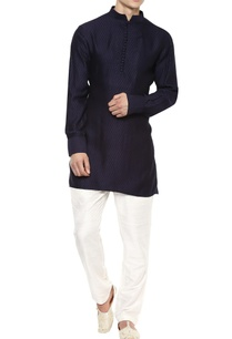 black-chanderi-silk-short-kurta