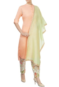 peach-kurta-with-embroidered-pants-dupatta