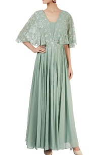 green-pleated-gown-enhanced-with-zardozi