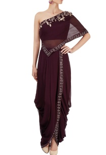 deep-purple-dhoti-skirt-with-one-shoulder-top