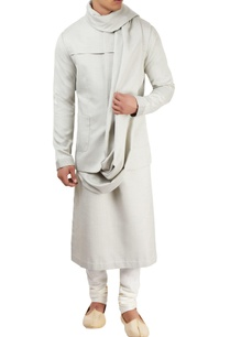 light-grey-textured-kurta-set
