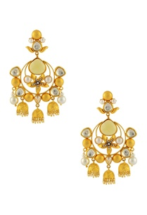 gold-finish-chandelier-earrings-with-floral-motif