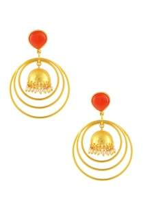 gold-finish-ring-earrings-with-red-stone
