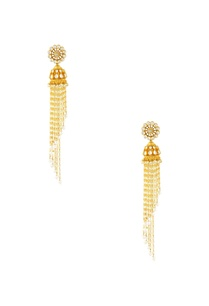 gold-finish-jhumkas-with-long-chains
