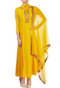 mustard-yellow-embroidered-kurta-set