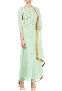 green-embellished-kurta-set