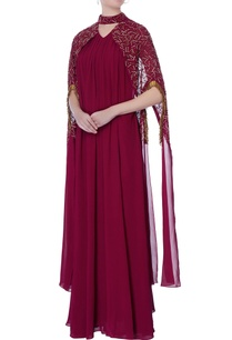 burgundy-brown-gown-with-cape