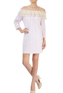 pink-white-striped-off-shoulder-dress