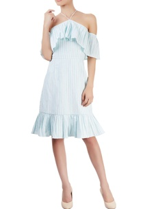 blue-white-striped-off-shoulder-dress